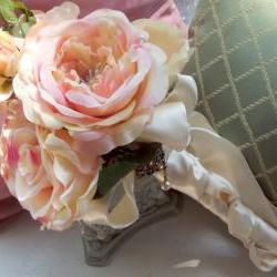 Victorian, Shabby Chic Bridal bouquet of Cabbage Roses in pink, blush and bone, with a pendant and pearl picks