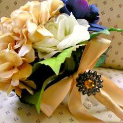 Bella Bouquet in Fall Colors with rhinestone brooches and pendant decor